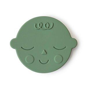 Mushie Bijtring Teether Face  │ Pistachio